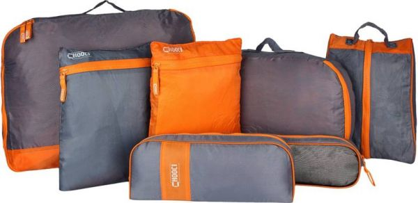 7 Pieces Luggage Travel Organizer Bag Orange And Grey