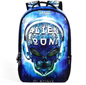 3D Skull Laptop Backpack for Men Punk Rock Printing School Backpack Casual  School Bags for Boys-x 65a2dd41a2d01