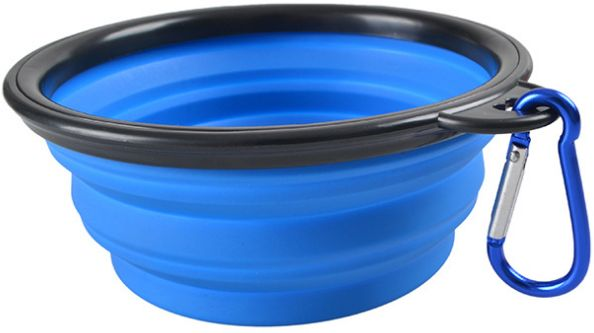 Silicone Pet Bowl, Food Grade SiliconeBPA  Foldable Expandable Cup Dish for Pet Dog/Cat Food Water Feeding Travel Bowl Blue