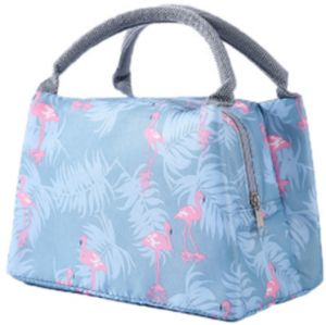 Women Kids Men Insulated Canvas Portable Picnic Lunch Bag Tote Zipper Organizer Lunch Box Waterproof Thermal Cooler Food Storage Box (flamingo)