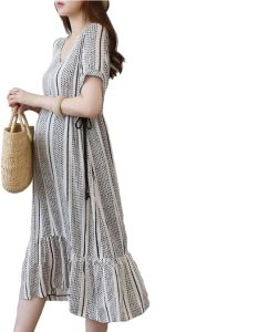 a5d43fe7330 Fashion Dress for Pregnant Women Maternity Dress Over Knee With Adjustable  Waist Plus Size for Women L