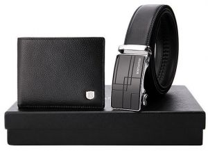 3dbc88ff4 Gift box classic leather bi-fold short wallet and belt set metal buckle  metal buckle gift for husband boyfriend