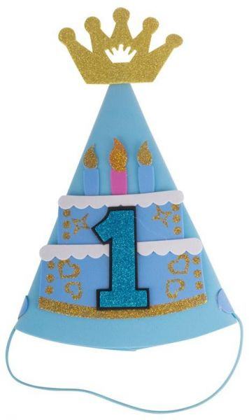1st Birthday Hat Gold Glitter Sparkle Crown Candle Pattern Cone Headband For Baby Girl Party Supplies Blue