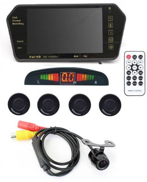 Automotive Car Accessory Combo of 7 Inch TFT HD Rearview Mirror Monitor, Black Parking Sensors, Camera