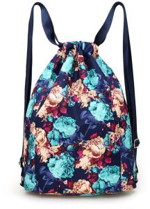 Drawstring Bags for Women ladies Casual Floral Printed Vintage Backpack  Girls Schoolbag Large Capacity Nylon Daypack Book Bags Travel 3dcd5d82ea3d6