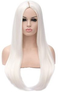 6133d8f0be7e3 Long Straight Wigs White Natural Heat Resistant Synthetic Hair Free Part  Half Hand Tied Glueless Wig for Cosplay Daily Wear