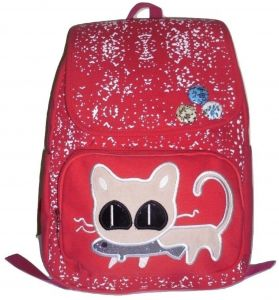 f79fbc8660 Cat backpack for school and trips red color
