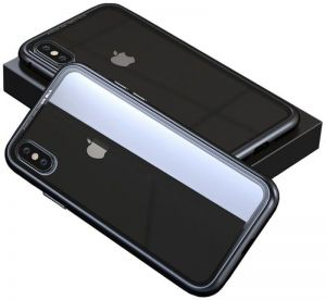 MagSnap iPhone X Case, Aluminum Bumper Case with 9H Tempered Glass Back [Black Clear]
