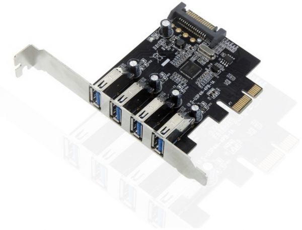 4 Port PCI Express PCIe SuperSpeed USB 30 Controller Card AdapterNEC720201 With 15pin SATA Power Connector