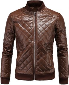 23e1fd39f8 Aowofs Winter Men s Leather British Collar Men s Diamond Leather Jacket  Leather Jacket