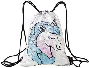 ed1241993 Mermaid Unicorn Drawstring Bag Reversible Sequin Girls Backpack Outdoor  Glittering Shoulder Bag for Shopping Beach Hiking Travel Dance Gym One Size