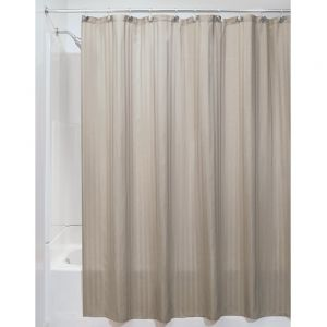 InterDesign Satin Stripe Soft Fabric Shower Curtain 54 X 78 Taupe
