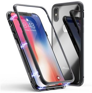 save off baf16 ad36b Bult-in Magnet iPhone X Case with Strong Magnetic Clear Tempered ...