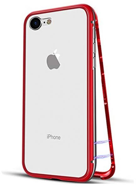 new concept 4d2c3 d66c5 Magnetic Adsorption Apple iPhone 6 iPhone 6s Case Clear Glass Back Cover  Magnetic iPhone Cover for iPhone 6 6s Red