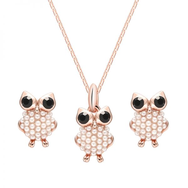 Latest Model Fashion 18k Gold Plated Crystal Owl Pendant Necklace Jewelry Set
