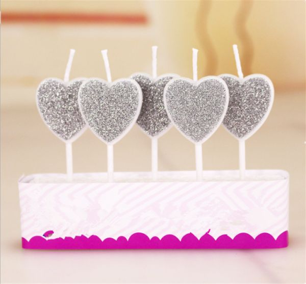 Love Heart Decoration Birthday Candles Toothpick Cake Letter Shaped Wedding Party Romantic For Adults Kids Silver 5pcs