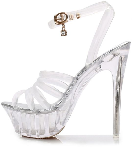 07db3709d6a Women s High Heel Sandals Transparent Striped Thin Heel Shoes