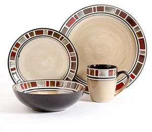 gibson soho lounge 16 piece square reactive glaze dinnerware set red ...