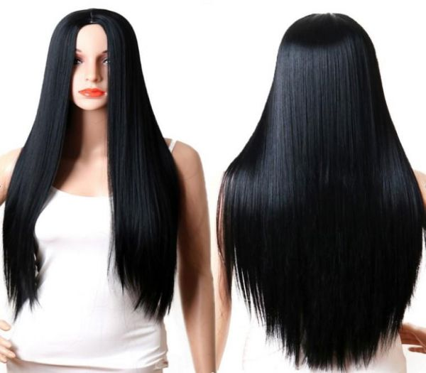 Women s or girl s long black Straight wig for Synthetic Hair  b6c49eb43