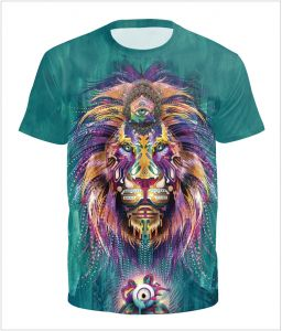 b829d5f9 Fashion Men's 3D Colorful Abstract Lion printed T Shirts Pullover Casual  Man Male Short Sleeve Tee