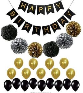 BLACK And GOLD PARTY DECORATIONS Perfect Adult Birthday Decorations