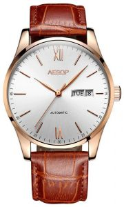 a347677ad9d AESOP Simple Ultra Thin Watch Men Automatic Mechanical Minimalist Wrist  Wristwatch Leather Band Male Clock Relogio Masculino