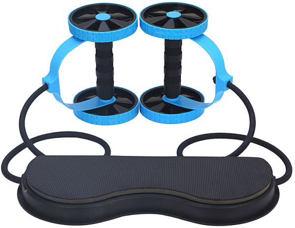 Abdominal Waist Slimming Trainer Exerciser Roller Double AB Wheel Fitness Equipment Yoga Resistance Pull Rope Home Gym Tool Blue
