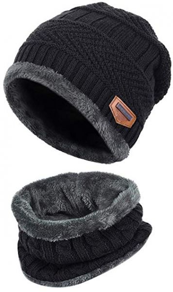 Black 2-Pieces Winter Beanie Hat Scarf Set Warm Knit Hat Thick ... c1ed61eb89df