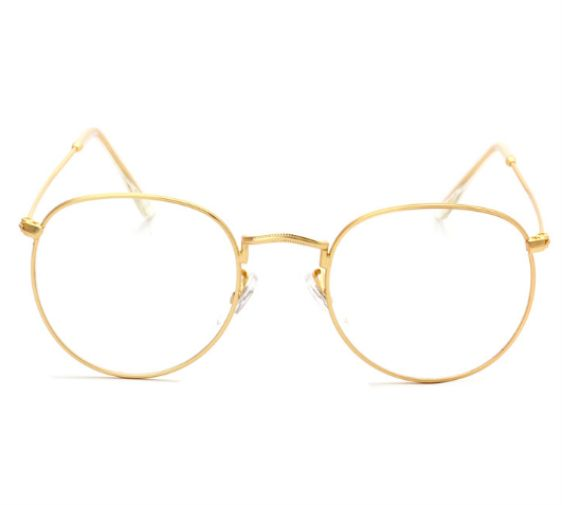 f6187ff578 Retro Fashion Round Metal Frame Eyeglass Frame for Men Woman Gold color