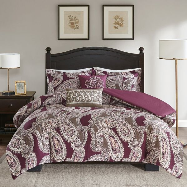 Harbor House Padma Duvet Cover King Cal Size Burgundy Paisley Set 5 Piece Cotton Light Weight Bed Comforter Covers Souq Uae