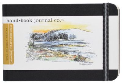 Global Art Materials 721221 3-1/2-Inch by 5-1/2-Inch Drawing Book, Pocket Landscape in Ivory Black
