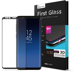 VRS Design Samsung Galaxy S9 PLUS First Glass Premium 3D Full Cover Screen Protector - Curved Edge Tempered Glass S9+