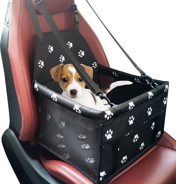 Pet Dog Car Booster Seat Carrier Portable Folding With Belt For Cat Up To 25lbs