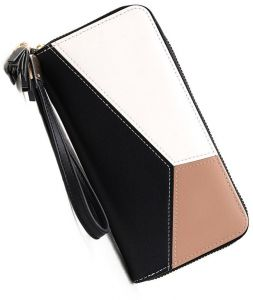 Luxury Women's Stitching Color Long PU Leather Large Capacity Zipper Wallet Ladies Cards Holder Casual Wristlet Clutch Purse Phone Bag