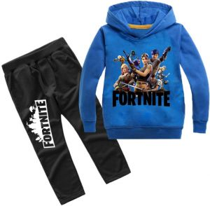 2e4d3b67270b Fortnite big boy long sleeve suit casual stylish sweatshirt hoodie set  cotton children outdoor sportswear blue 130cm height
