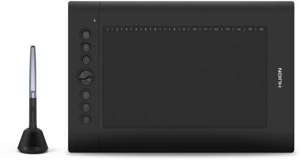 Huion H610 Pro V2 Graphic Drawing Tablet Tilt Function Battery-Free Stylus  and 8192 Pen Pressure