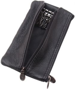 50089720f6d Black Unisex Genuine Cowhide Leather Coin Wallets Doulble Zipper Small  Cards key Holder Pourch For Women Men