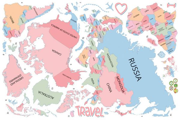 Map Of Russia For Kids.Wall Sticker Large Colorful World Map Sticker Educational Kids Room