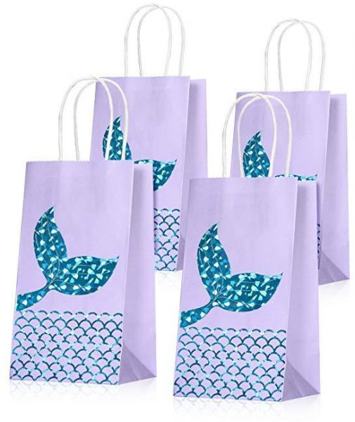 Set Of 10 Mermaid Gift Bags Party Supplies Favors Goodie Bag Glitter Treat For Under The Sea Gifts Girls