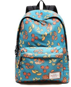 3d5a2ffb0029 Cartoon Fruit Pattern Student Bag Large Capacity Middle School Canvas  Backpack Cute Casual Backpack Waterproof Laptop Backpack