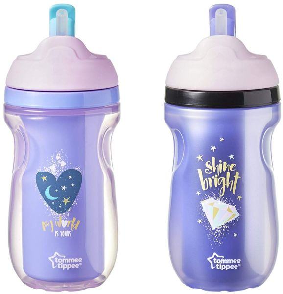 Tommee Tippee Insulated Straw Tumbler Toddler Cup 9 Ounce 2 Count Girl