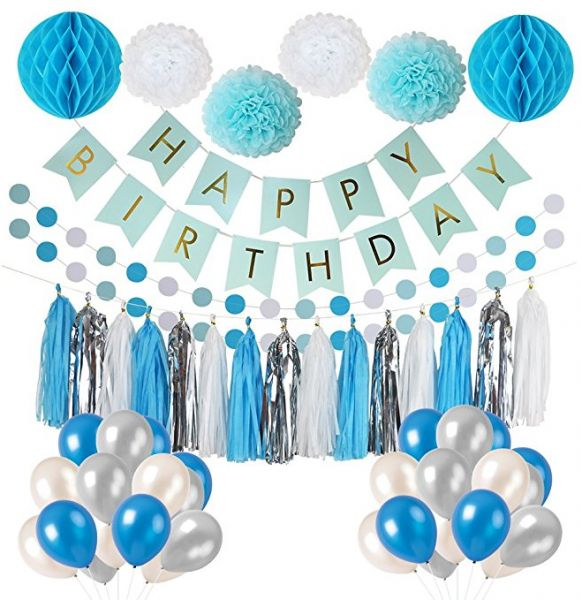 Frozen Theme White Blue Party Decorations Girls Birthday Supplies Balloons Pom Poms Flowers Banner Paper Garland Tassels 1st