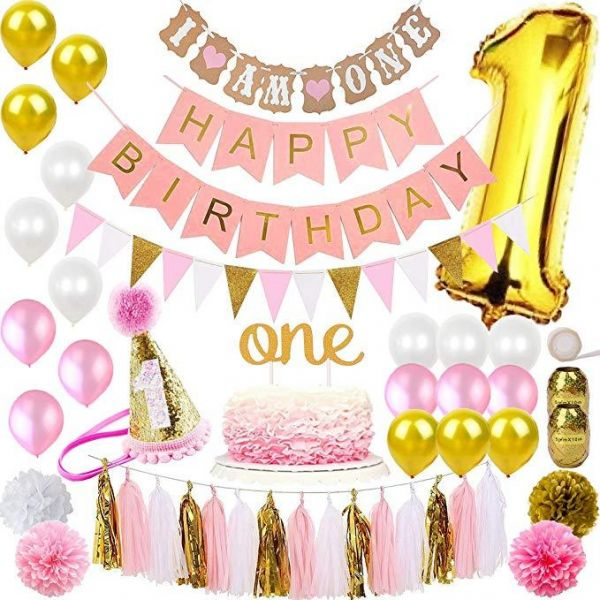 Pack Of 118 Fun Deco Party 1st Birthday Decorations For Girl Mega Bundle