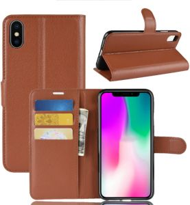 Iphone Xs Case,Litchi Skin Leather Cover Business Style Wallet Flip Cover Card Holder Stand Shell Magnetic Folio Case - Brown