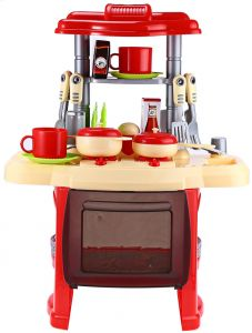 Kids Big Kitchen Cooking Set Pretend Role Play Toy Set With Light