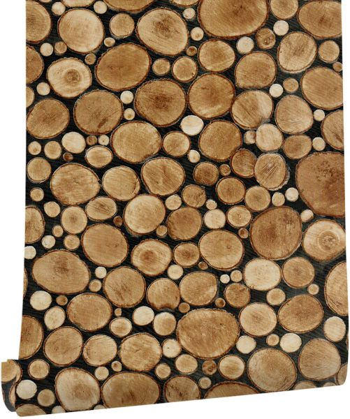 Haokhome Faux Wood Wallpaper Roll Self Adhesive Brown Wall Sticker For Living Room 61101