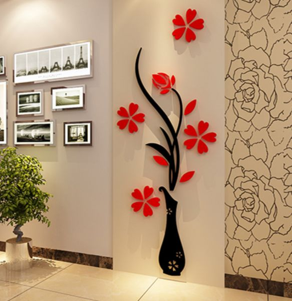 diy vase flower tree 3d wall stickers decal home decor crystal wall