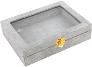 1b2df8a3d132 Small Size Necklace Bracelet Ring Jewelry Storage Box Gray Flannel with  Glass Cover
