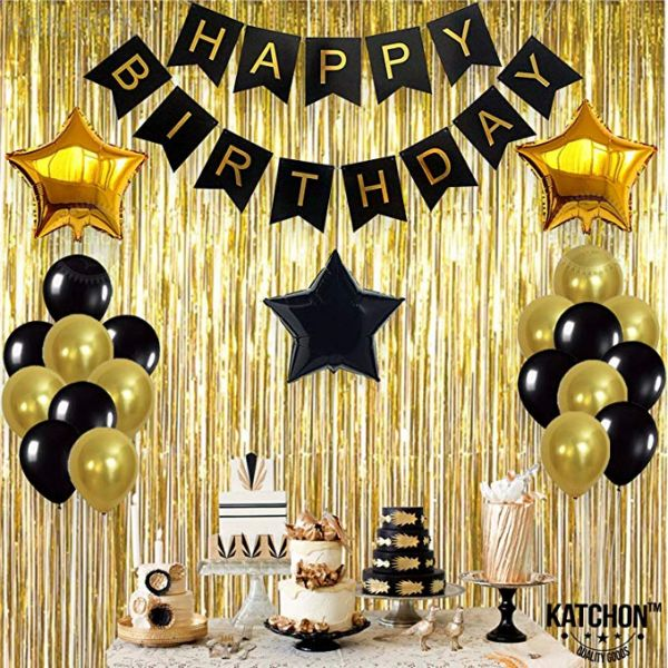 BlackGold Balloons And Paper Pom Poms Party Supplies For Birthday Decoration With Pale Champagne Metallic Foil Fringe Tinsel Curtain Happy