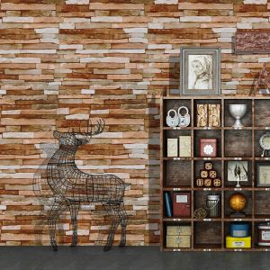 Haokhome H1084 3d Brick Wallpaper Self Adhesive Brown Living Room Kitchen Home Wall Decoration